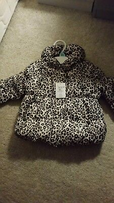 Baby girls winter coat 9-12 months padded leopard print. New