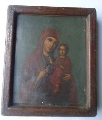 VIRGIN MARY - ANTIQUE OLD RUSSIAN HAND PAINTED WOODEN ICON, FRAME, 300mm x 270mm