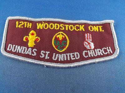 BOY SCOUTS BSA CANADA 12th WOODSTOCK ONT DUNDAS ST UNITED CHURCH VINTAGE PATCH