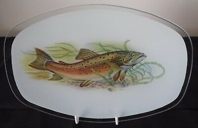 Brown Trout Glass Plate Excellent Condition - Lovely Gift for a Fisherman/Angler