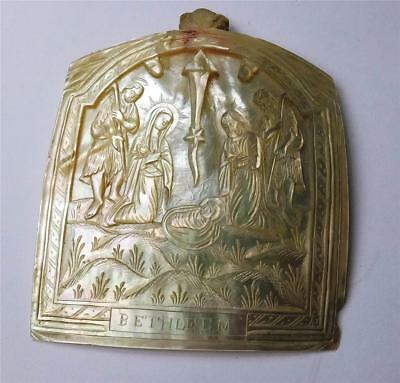 ANTIQUE CARVED MOTHER of PEARL CARVED SHELL of the NATIVITY, BETHLEHEM