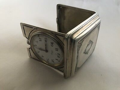 TIFFANY & CO 8-Day Sterling Silver Travel Auto Car Clock with Champleve` Enamel