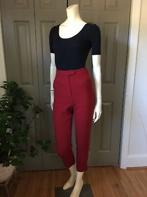 Vintage Womens Red Wool Burberry Pants Burberry's Pedal Pushers High Waist S