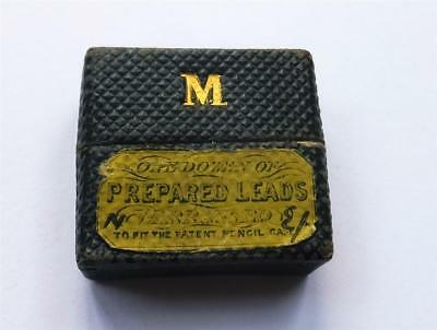 ANTIQUE PENCIL LEAD BOX - marked with gold M