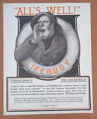 """1903 Lifebuoy Soap Antique Vintage Bathroom Household Print AD """"All's Well"""""""