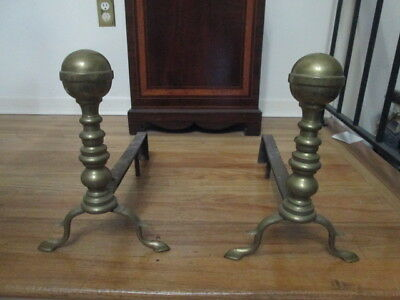 ANTIQUE Set Of  BRASS/CAST IRON Fireplace Andirons Fire Dogs CANNONBALLS