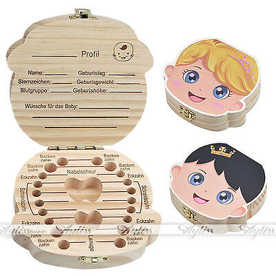 NEW Tooth Box Kids organizer baby Save Milk teeth Wood storage Boy+Girl Gifts GW