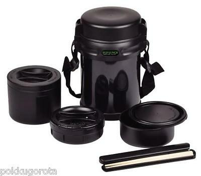 THERMOS Double stainless Lunch Box Bento 3box 1800ml Black HB-254