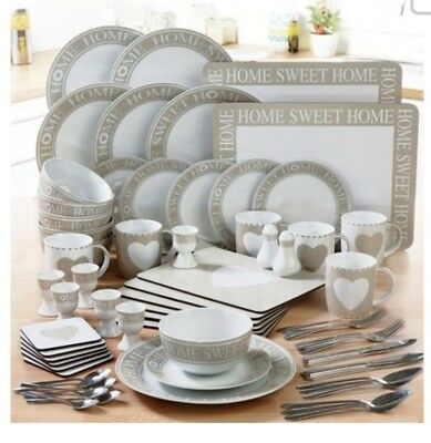 70 Piece Round White Mocha Dinner Set Service Kitchen Plates Cups Bowls Cutlery