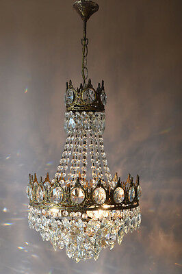 Empire 1950's Antique French Vintage Crystal Chandelier Light lamp Pendant Brass
