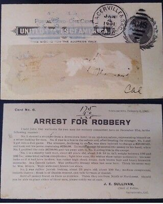 """RARE 1901 United States 1c Postcard """"Arrest For Robbery"""" canc Placerville """"RMS"""""""
