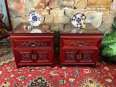 Stunning Vintage Pair Oriental Rosewood Bedside Tables~Lamp~Drawers~Chinese