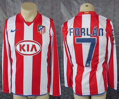 Diego FORLAN #7 Atletico Madrid Home Football Shirt L/S Jersey 2008/09 Size S