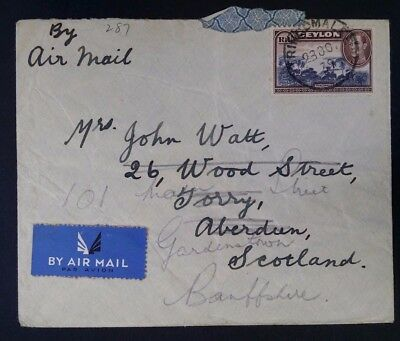 RARE 1939 Ceylon Airmail Cover ties 1R Trincolamee stamp to Scotland redirected