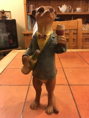 Meerkat With Wine Bottle And Glass Garden Ornament