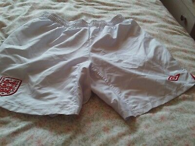 White Football Shorts, With  3 Lions England Badge , Large