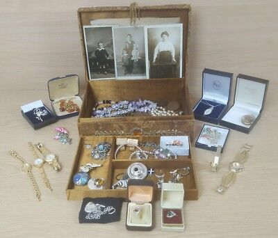 Job Lot House Clearance Jewellery Watches Costume 925 Coins Photo's Collectables