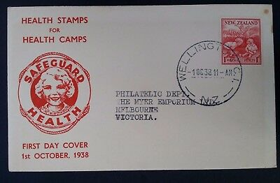 "1938 New Zealand ""Health Stamps for Health Camps"" FDC ties 1+1d stamp canc W'ton"