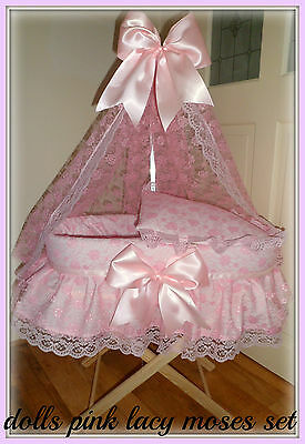 New Handmade Dolls Lacy Moses basket + Stand Crib Bassinette Toy Girls Romany