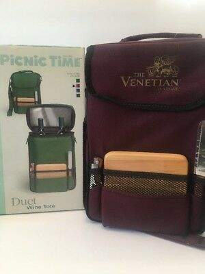 NEW PICNIC TIME Duet Insulated Wine Tote LAS VEGAS VENETIAN Branded BURGUNDY