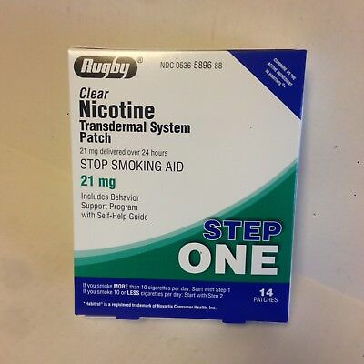 Rugby Clear 21mg Nicotine Patches Step 1,14 Ct.  (generic For Nicoderm CQ)