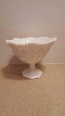 Vintage Westmoreland Milk Glass Old Quilt Compote Comport Candy Dish