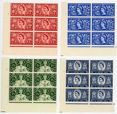 GB 1953 Coronation Set in Cylinder Blocks of 6 MNH/MH Cat £96