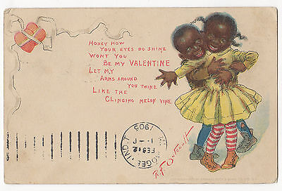 Racist  Valentine Post Card - 1905