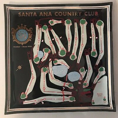 Santa Ana Golf Country Club Member-Guest 1970 Black Glass Tray W/ Course Layout