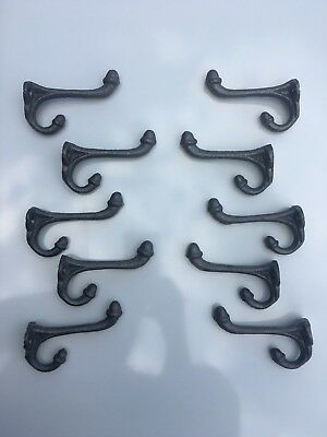 10 Cast Iron Pewter Silver Wall Hooks Coat Hat School Saddle Tack Rustic Vintage