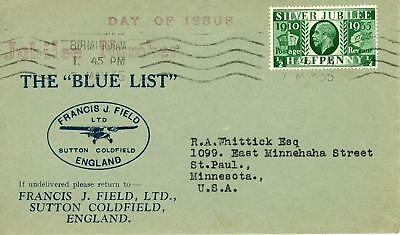 GB 1935 Silver Jubilee 1/2d on RARE Francis J Field illustrated FDC