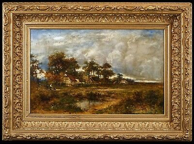 Fine Large 19th C. English Autumn Landscape Oil Painting in Antique Gilt Frame