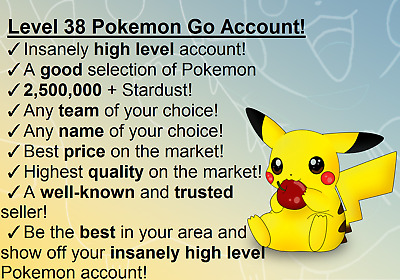 [Unrea] Pokemon-Go-Account-Level 38 ✔ 2,800,000 + Stardust ✔ Changeable Email! ✔