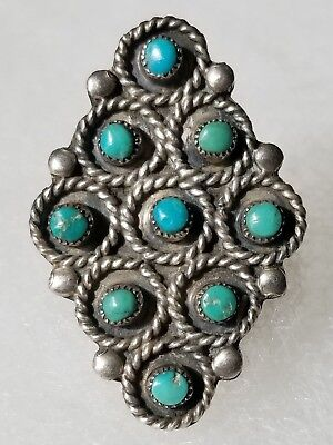 Rare ZUNI Sterling Silver TURQUOISE 9 Inlay GEMSTONE RING Native American Sz 6.5
