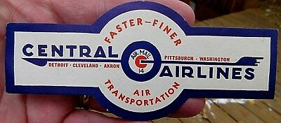 Vintage Central Airlines Air Transportation Luggage Label