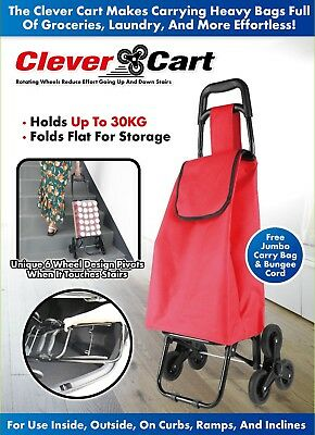 Shopping Trolley Bag On 6 Wheels Climb Stairs Step Rolling Cart Easy Grocery