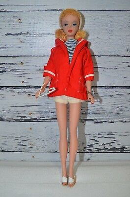 Vintage Blonde Ponytail Barbie Doll #3 Original Swimsuit and Resort Wear Outfit