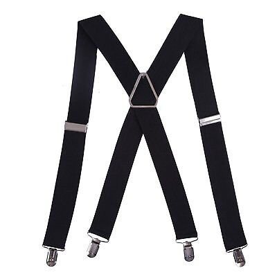 """HDE Mens Big and Tall X-Back Clip Suspenders 1.5"""" Wide Adjustable 55"""" Long Black"""