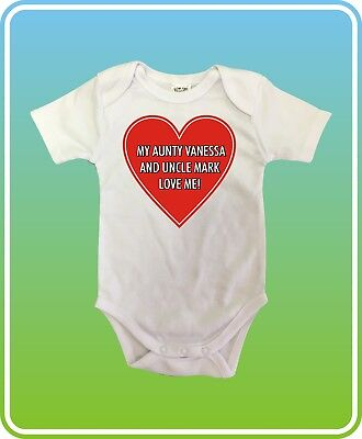 Custom My Aunty and Uncle Love me White Cotton Unisex Baby One-Piece BodySuit