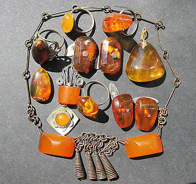 VINTAGE NATURAL,PRESSED BALTIC AMBER JEWELRY 75g.