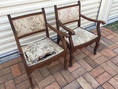 Pair Of Gorgeous Antique Silky Oak Bedroom Chairs for Restoration