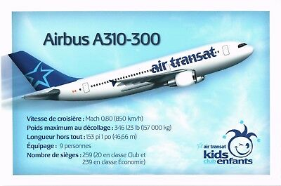 Air Transat Airbus A310 Airline Issue. Aviation Airplane Postcard