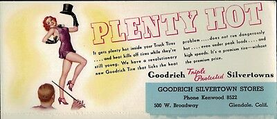 1940s Glendale California Ink Blotter Pinup Girl Top Hat Redhead Goodrich Tire