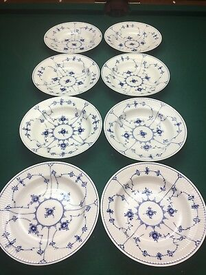 8 Deep Bowls Plates #165 - Blue Fluted Royal Copenhagen