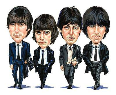The Beatles- Band Caricature Abby Road Help 60's Rock & Roll Sticker or Magnet