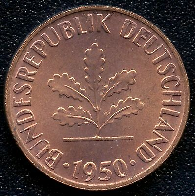 Germany 1950 'G' 1 Pfennig Coin