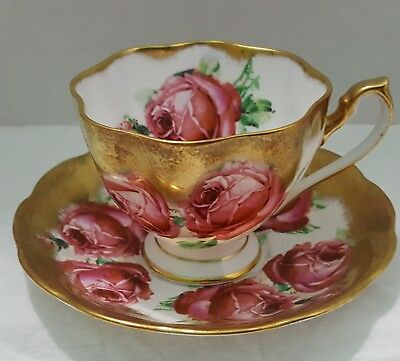 Queen Anbe Cup And Saucer With Rich Geavy Gold And Big Red Pink Cabbage Roses