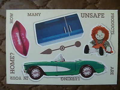 Postcard..recall / Unsafe Products..peel Back Card...corvette..ragdoll..lipstick