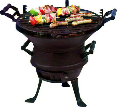 Height Adjust Cast Iron Camping Fire Pit Cooking Stove Charcoal BBQ Barrel Grill