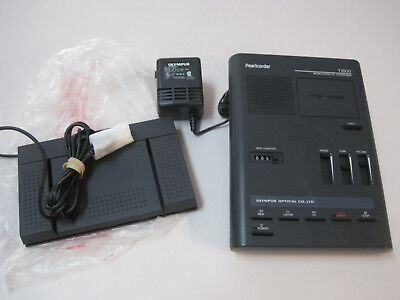 Olympus Pearlcorder T1000 MicroCassette Transcriber w/pedal, AC Adapter